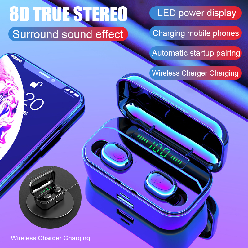 H&A New Bluetooth Earphone 8D Stereo Wireless Earbuds Mini Wireless Earphone Headset with 3500mAh Power Bank Earphone Headphone