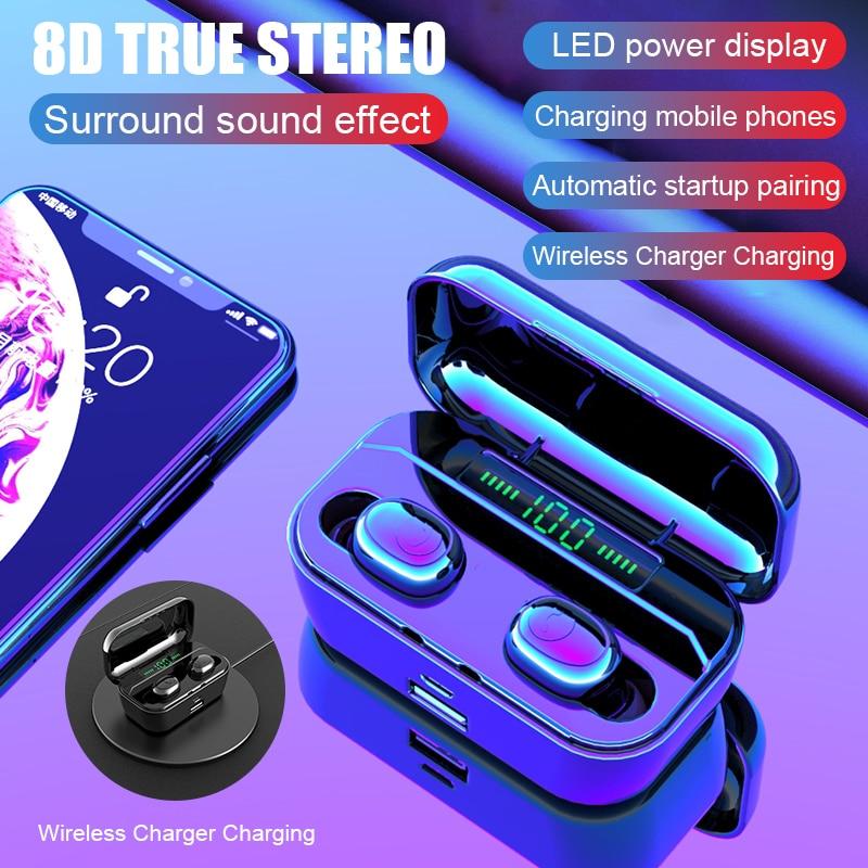 H&A New Bluetooth Earphone 8D Stereo Wireless Earbuds Mini Wireless Earphone Headset With 3500mAh Power Bank Earphone Headphone