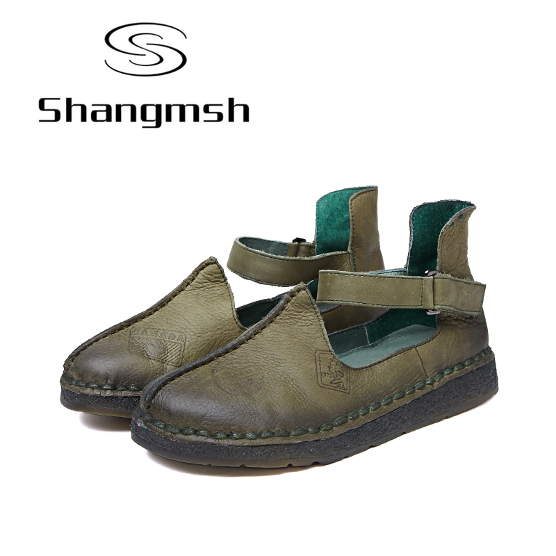 Shangmsh Fashion Moccasin Genuine Leather Shoes Women 2017 Casual Shoes Handmade Comfortable Soft Bottom Print Flat Shoes handmade soft bottom fashion tassels baby moccasin newborn babies shoes 18 colors pu leather prewalkers boots