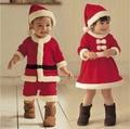 Menina roupa do bebê Roupa Do Natal Do Bebê Outfits Meninos Roupas Meninas Recém-nascidas Romper Crianças Infantil Fleece Traje de Papai Noel