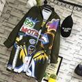 BringBring 2017 Primavera e No Outono Estilo Punk Letras de Graffiti Mulheres Trincheira Com Rivet Manga Comprida trench coat Ferro anel 1815