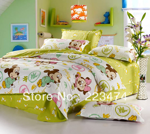Free shipping!HOT!100% cotton mickey and minnie king/queen size china comforter sets LOVELY home textile cotton bedding set
