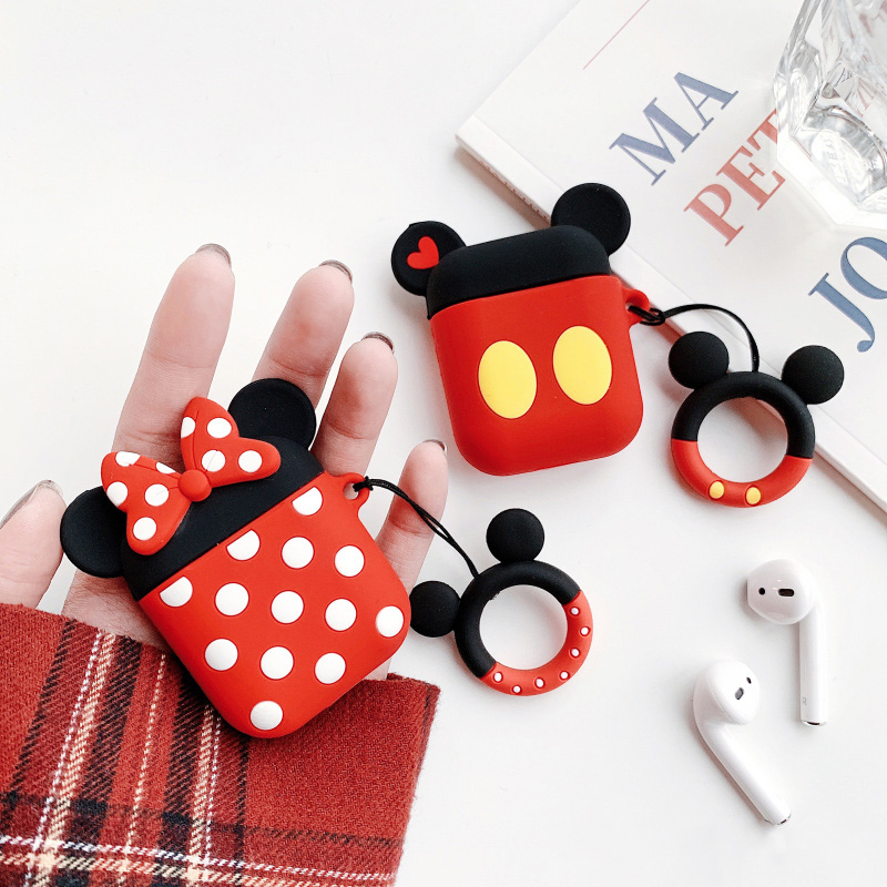Cute Cartoon Bluetooth Wireless Earphone Cover For AirPods Protective Case Soft Silicone for Apple Airpods Headset Charging Bags