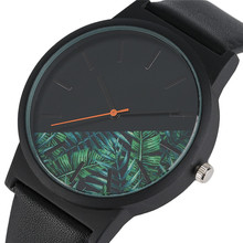 Fashion Ladies Black Faux Leather Band Quartz Watches Men Casual Male Wristwatch Analog Simple Glass/Flower Dial Women Unisex