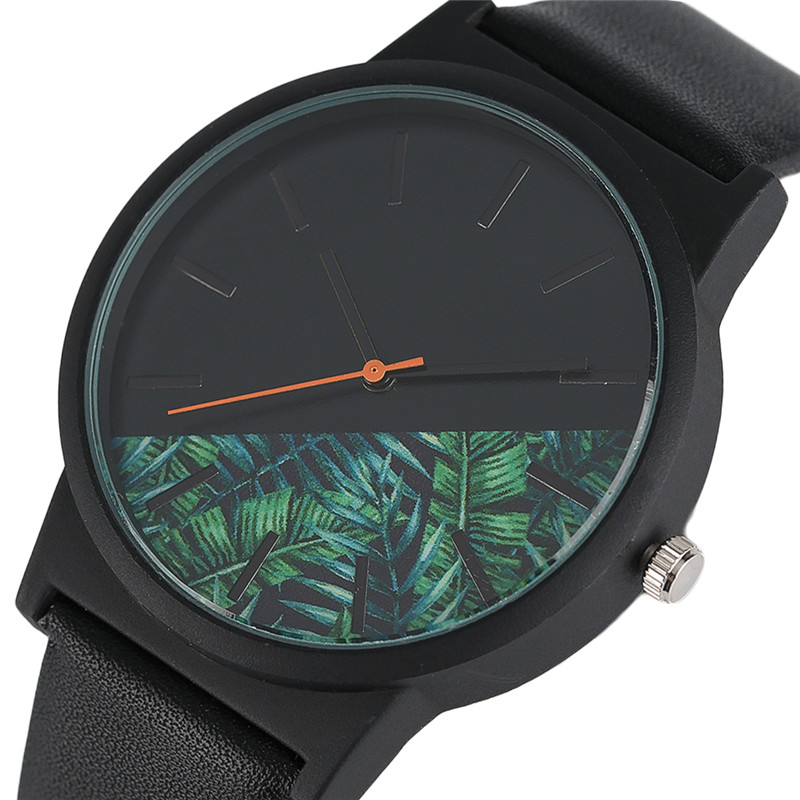Fashion Tropical Rain Forest Style Quartz Men Watches Black Leather Band Casual Women's Wrist Watch Simple Flower Dial Gifts
