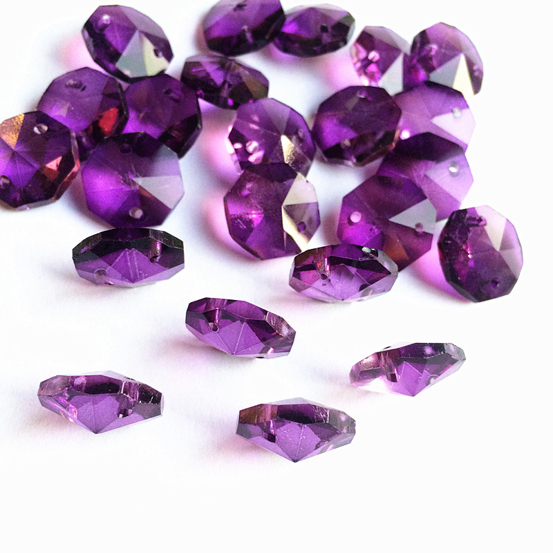 100pcs/lot 14mm Dark Purple Crystal Octagon Beads 2 Holes For Chandelier Parts Diy Beads Curtain Accessories Wedding/ Home Decor