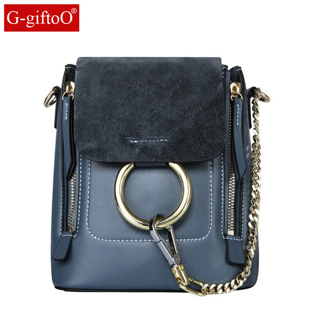 d72e19ec5e75 NEW Vintage Genuine Leather Nubuck Leather Patchwork Women Backpacks Rings  Zip Small Bag