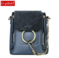 NEW Vintage genuine leather nubuck leather patchwork women backpacks rings zip small bag