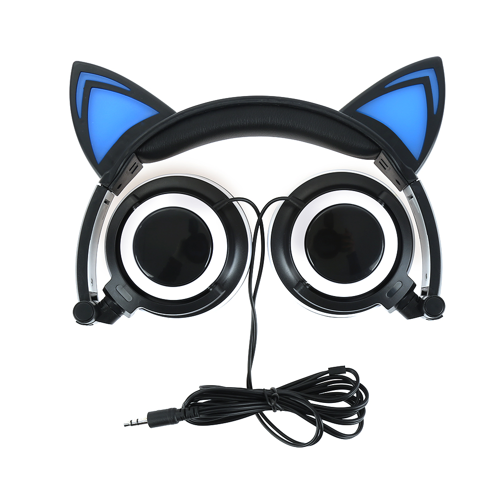New Foldable Flashing Glowing cat ear headphones Gaming Headset Earphone with LED light For PC Mobile Phone foldable cat ear headphones gaming headset earphone with glowing led light for phone computer best halloween gift for girls kids