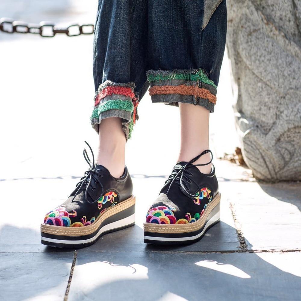 Chaussures Femmes Fsj Véritable Air Plein Décontracté En Plate Fsj01 Noir À Épais Lacets Fleur Habillées Richelieu Cuir forme Talons Printemps Appartements Bas Dames YrqwYR