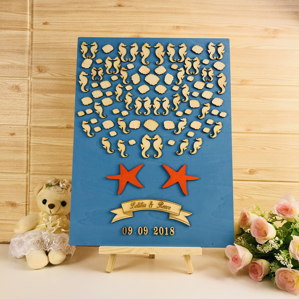 Nom personnalisé et date de mariage en bois livre d'invité, hippocampe et étoile avec des coquilles sont décorés sur le livre d'invité, livre d'invité Unique