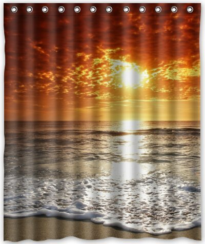 Memory Home Fabric Shower Curtain Seaside Beach Ocean Sunset Theme Print Polyester Bathroom Rings Included