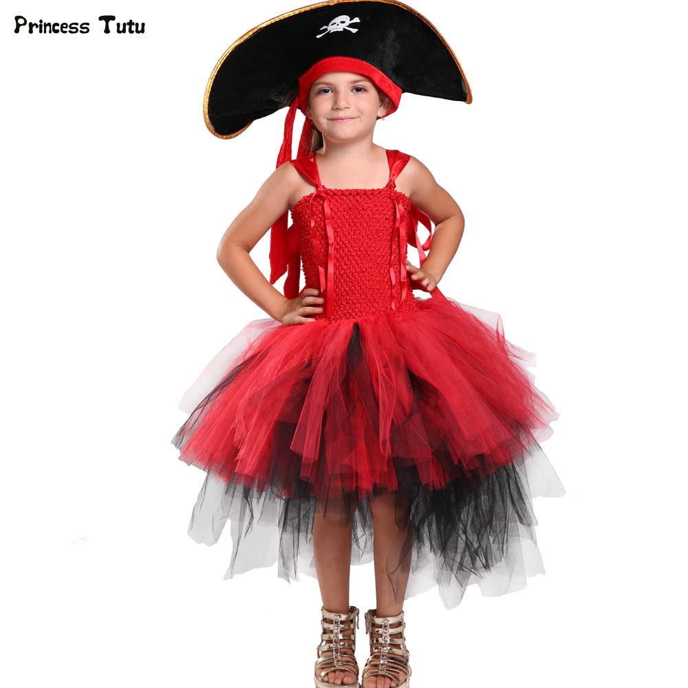 Girls Cosplay Pirate Tutu Dress Trailing Ball Gowns For Children Halloween Costume Kids Girl Birthday Party Tulle Princess Dress baby girls christmas halloween costume witch vampire cosplay tutu dress kids princess tulle dress girl festival birthday dress