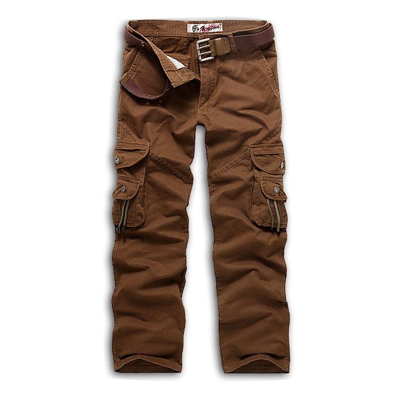 Новинка, продвижение, мужские брюки-карго камуфляж, Военный стиль, брюки, армейские брюки, хаки, мульти-комбинезоны с карманами, брюки для мужчин, большие размеры - Цвет: Red coffee
