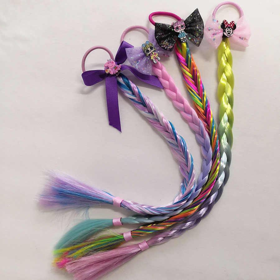Новые Мультяшные девушки цвета волос волосы мода с длинными косами хвосты заколки для волос для детей Бутик головные уборы аксессуары
