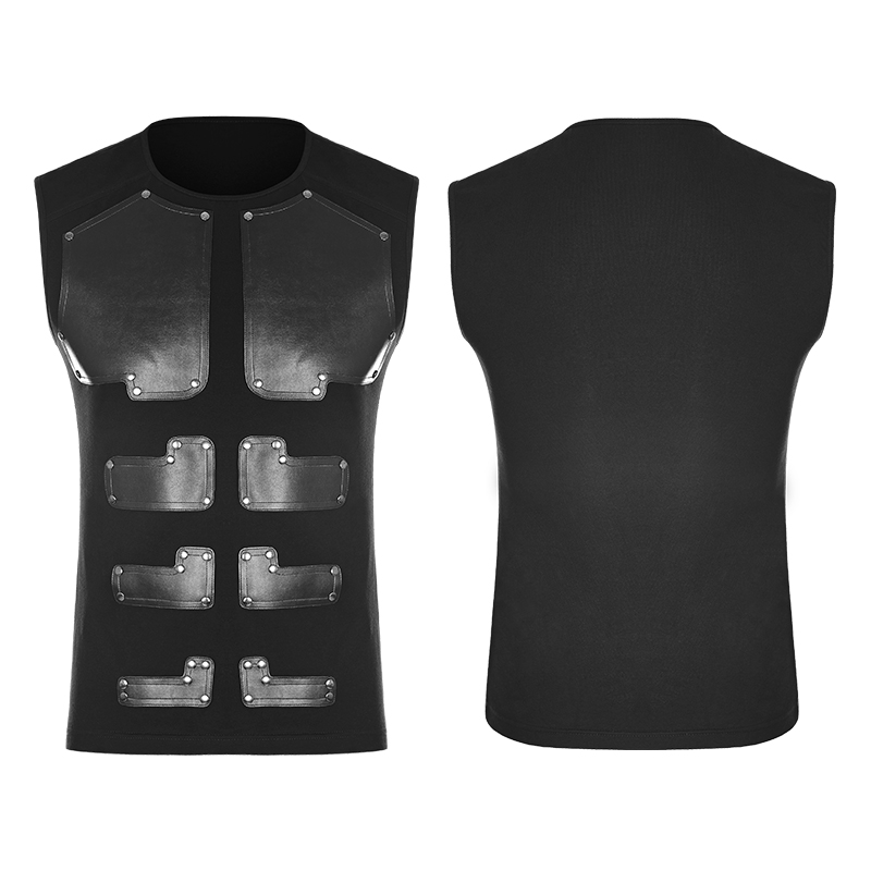 Image 5 - PUNK RAVE Punk Rock PU Leather Muscles Arrayed Warriors Skinny  Sleeveless Men T shirt Elastic Cotton Knitted Tops Tees Clothingmen  t-shirtt-shirt ment-shirt men cotton
