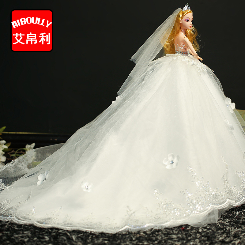 White Wedding Dress Dolls Handmade Princess Evening Party Clothes Wears with veil Long Dress Outfit Set Dolls Girls Gifts