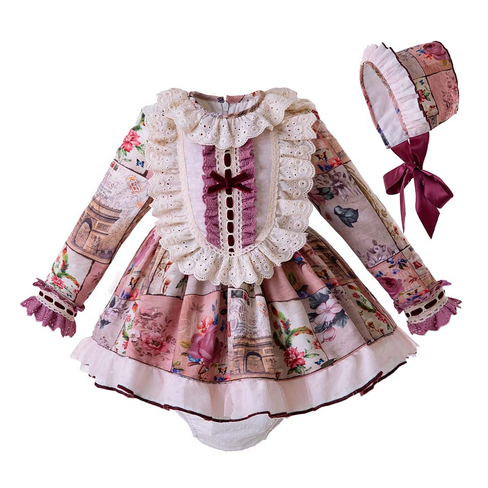 Pre sale Lace Baby Girls Princess Clothing Set Flroal Clothing Set With PP pants Bonnet Vintage Child Costumes G DMCS106 B327-in Clothing Sets from Mother & Kids