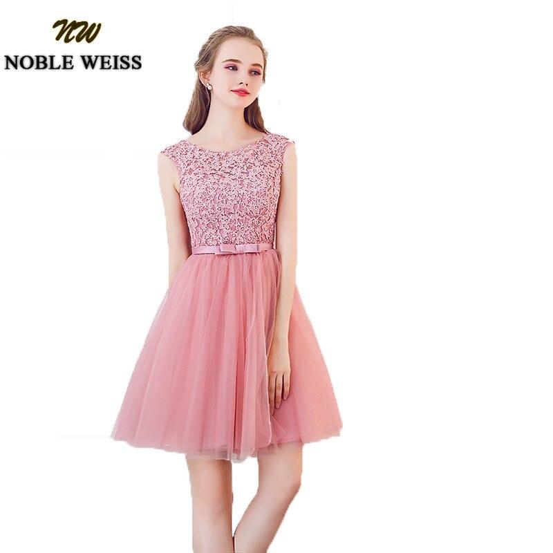 NOBLE WEISS Dust Pink Short Bridesmaid Dresses 2019 Knee Length Applique Lace Wedding Guest Dress  New Robe Demoiselle D'honneur