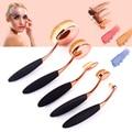 Black Rose Gold 5pcs Tooth Brush Shape Oval Makeup Brush Set Foundation Powder Shadow Eyeliner Lip Cosmetics Brushes Kit Tools