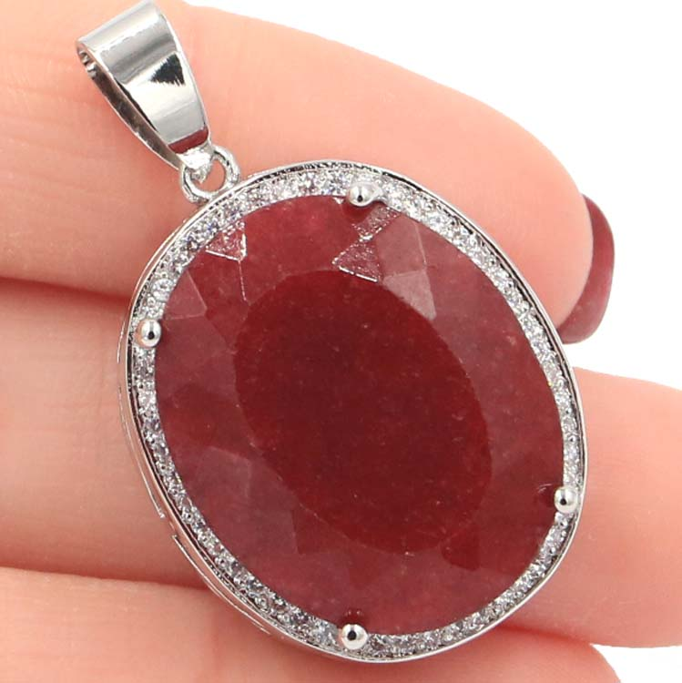 Big Gemstone 22x18mm Oval Real Red Ruby White CZ Woman's Gift Silver Pendant 25x20mm