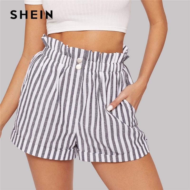 SHEIN Black And White Elegant Boho Ruffle Elastic Waist Slant Pocket Striped Shorts Women Summer 2019 Straight Leg Casual Shorts