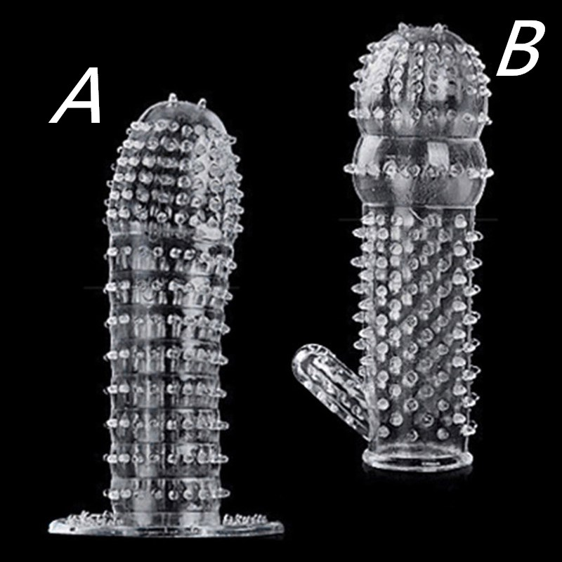 Silicone Spike Dotted Ribbed Clear Condom Penis Extension Sleeve Adult Sex Toy for Men pearl beading exaggerate bell sleeve ribbed tee