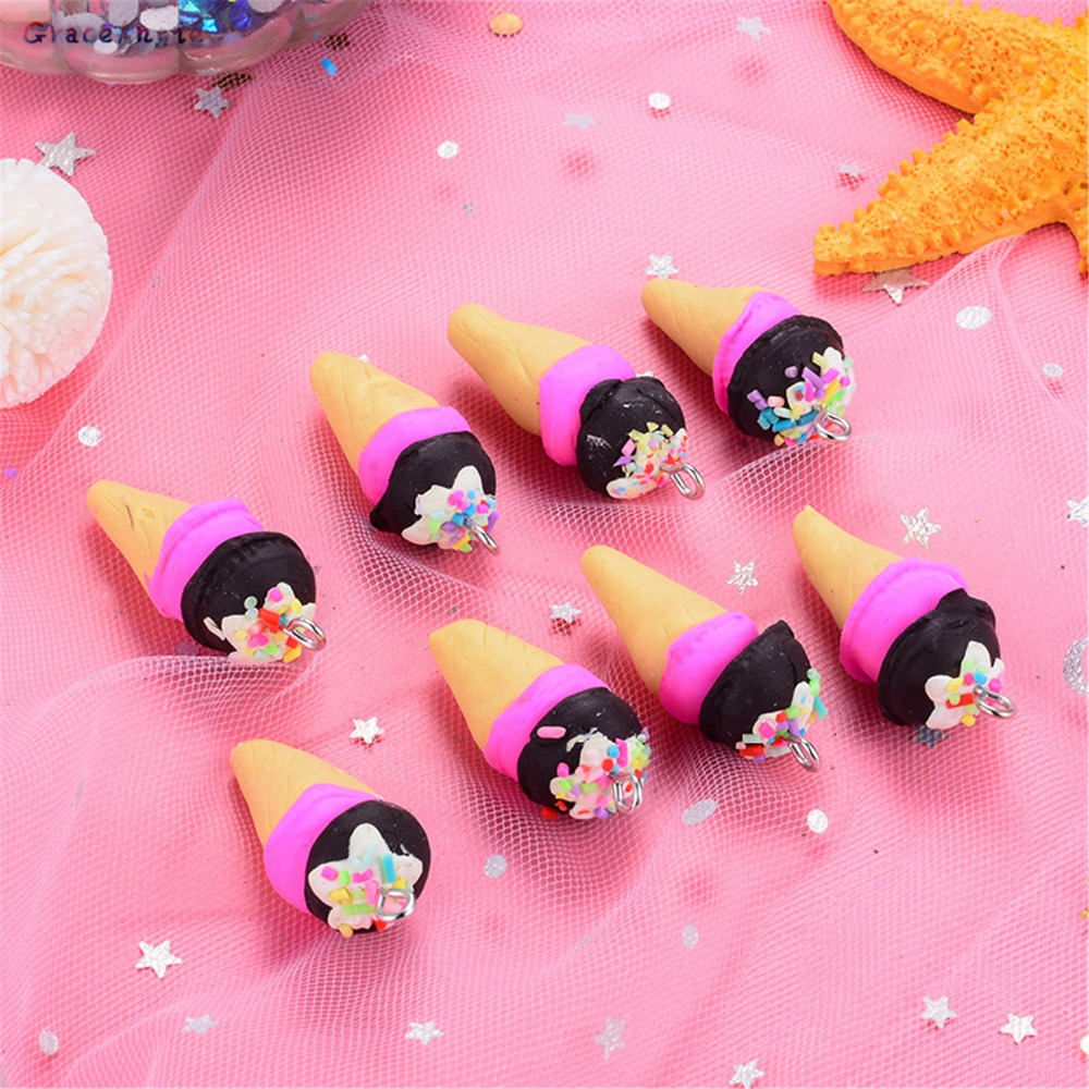 10pcs Wholesale Icecream Pendant Gift Resin Charms For Necklace Earrings Bracelet Child Jewelry Findings DIY Hair Accessories