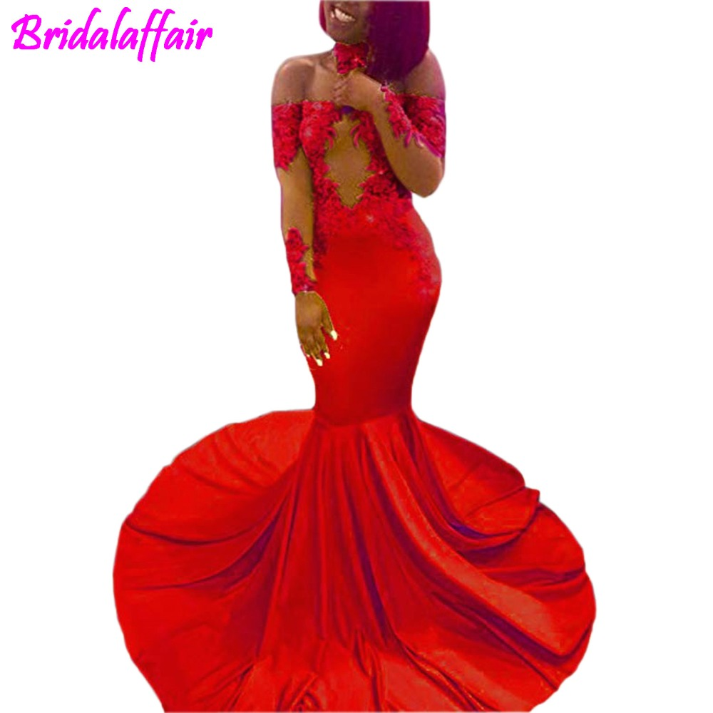 Sexy Off Shoulder Appliques Mermaid Prom Dresses Long Sleeve Evening Party Dresses with Choker vestido largo fiesta in Evening Dresses from Weddings Events