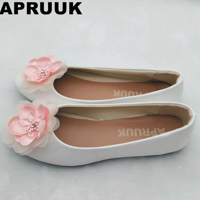 Pink flower wedding flat heel shoes women female ladies sweet pink flower wedding flat heel shoes women female ladies sweet handmade bridal girls party flats shoes junglespirit Image collections