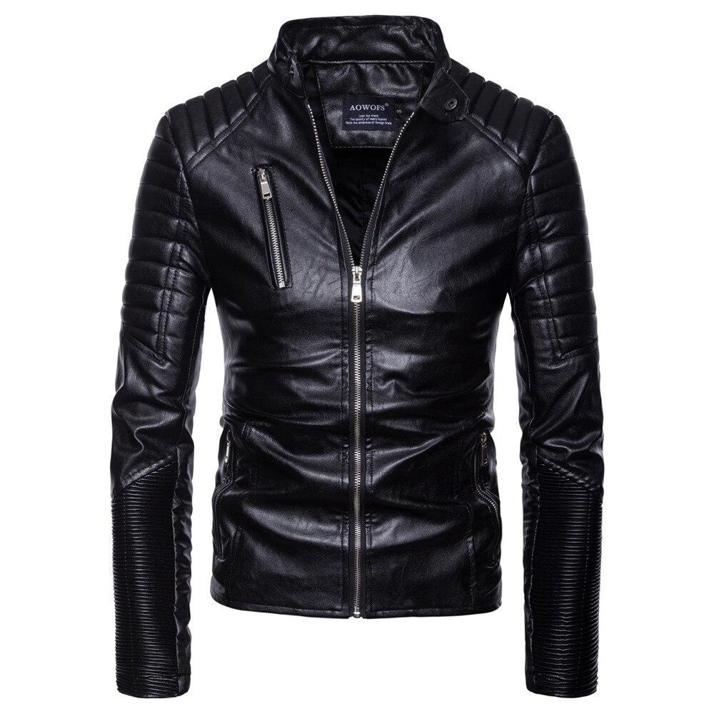 Sporting Männer Herbst Winter Casual Langarm Solide Stehen Motorrad Leder Mantel Top #4o11 # F Sparen Sie 50-70% Herrenbekleidung & Zubehör