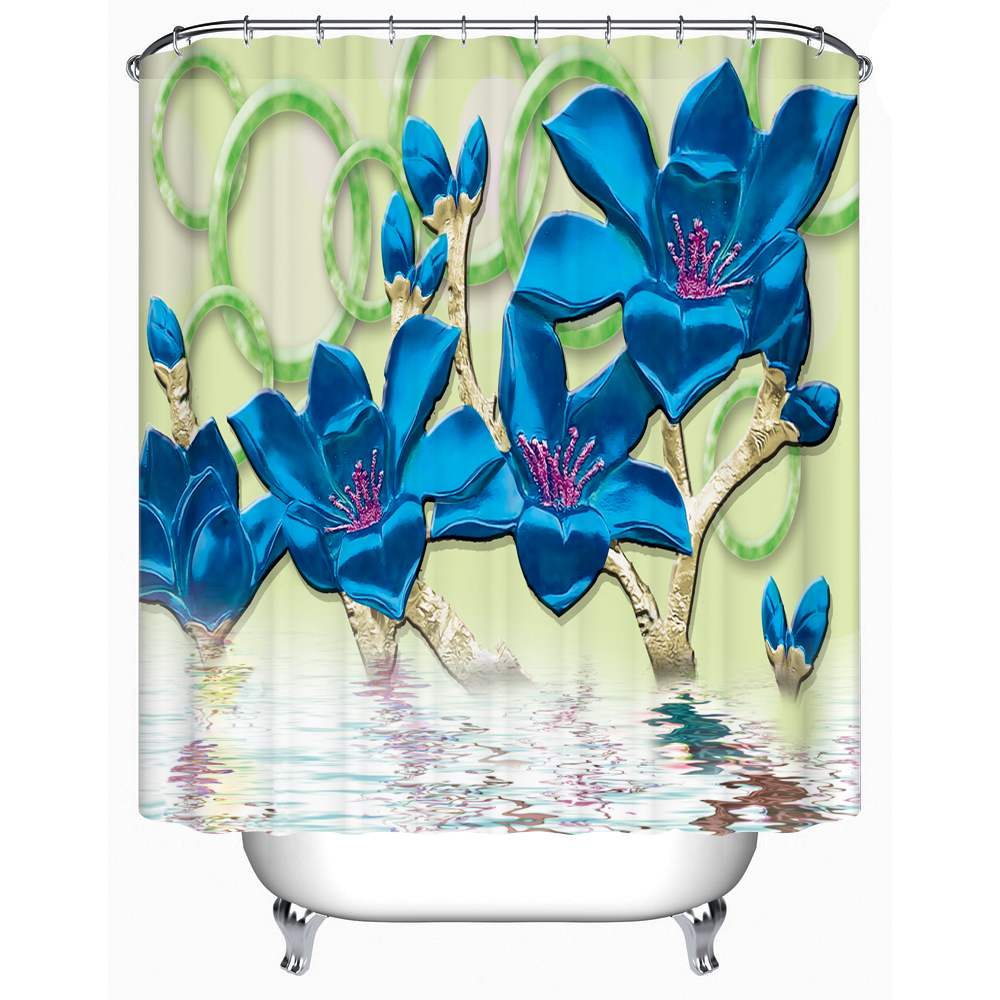 2016 new beautiful flower shower curtain high quality bathroom
