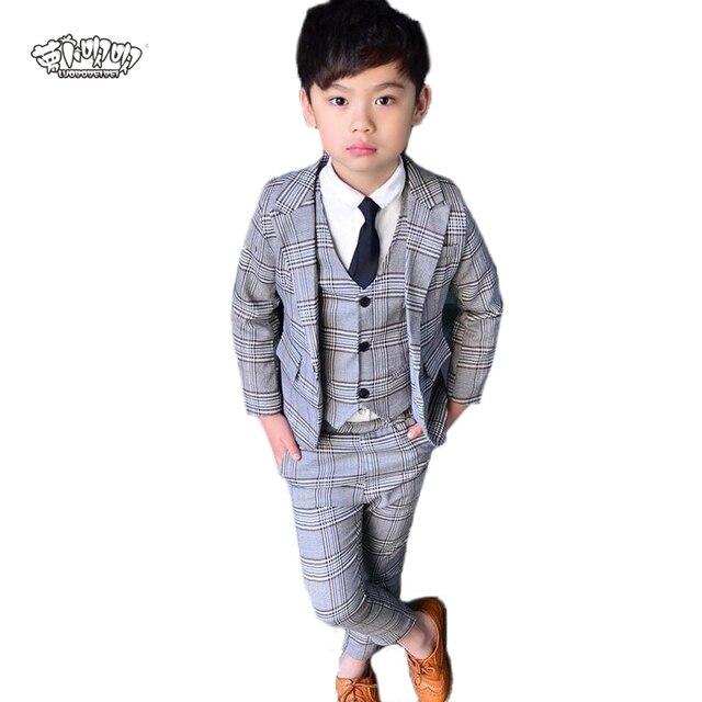 abb0dd22e17d7 New Flower Boys 3Pcs Formal Plaid Wedding Suit Kids England Style Blazer+Pant+Waistcoat  Suit for Boys Kids Party Costume N26
