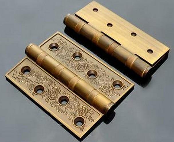 Luxury Decoration 4 100MM Door Hinges W 4 Bearings Antique Bronze free shipping 20pcs antique bronze hardware 4 holes diy box butt door hinges not including screws 29x27mm j3018