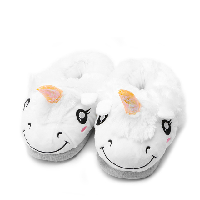 Unisex Winter Warm Plush Unicorn Slip Soft Cartoon Adult Indoor Slippers