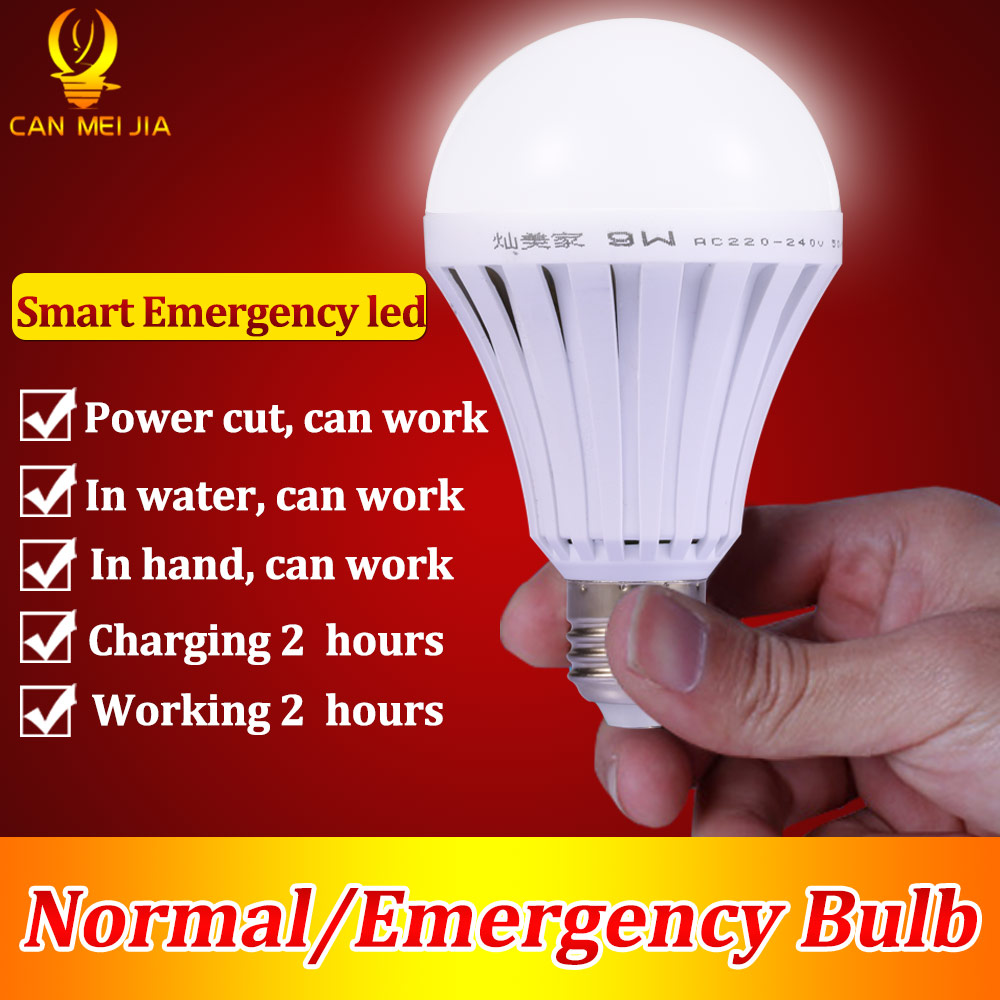 LED Smart Rechargeable E27 Emergency Light Bulb Lamp Home Commercial Outdoor lighting B22 5W 7W 9W 12W 220V Energy Saving Lamp multifunction usb rechargeable portable led lamp bulb emergency lamp with switch and hook up outdoor camp climbing lighting