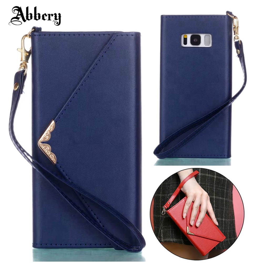 Abbery Fashion Envelope Wallet Case For Samsang galaxy S8 Luxury Leather Woman Handbag C ...