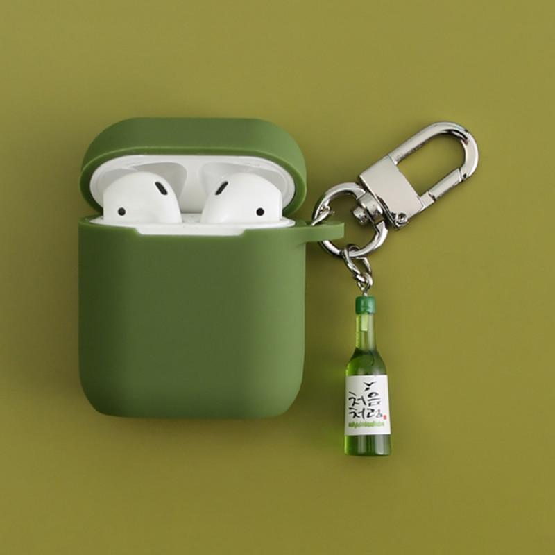Silicone para Apple Garrafa de Vinho Keychain do Fone de Ouvido Legal Decorativo Caso Acessórios Capa Protetora Bluetooth Airpods