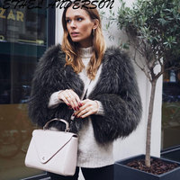 New Brand Genuine Raccoon Dog Fur Jackets Luxury Natural Fur Coat For Women's Real Knitted Fur Jacket colete de pele