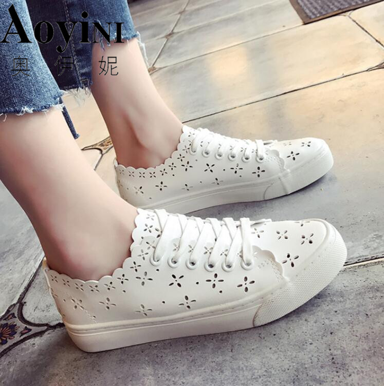 2018 Spring And Autumn New Breathable Net Shoes White Shoes Students Leisure Lazy Shoes  ...