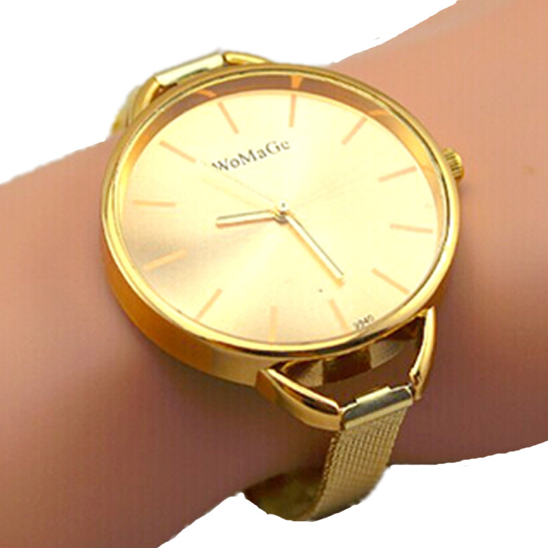 high quality womage brand big face gold colors slim grid steel band lady fashion bracelet quartz watch women casual wrist watch
