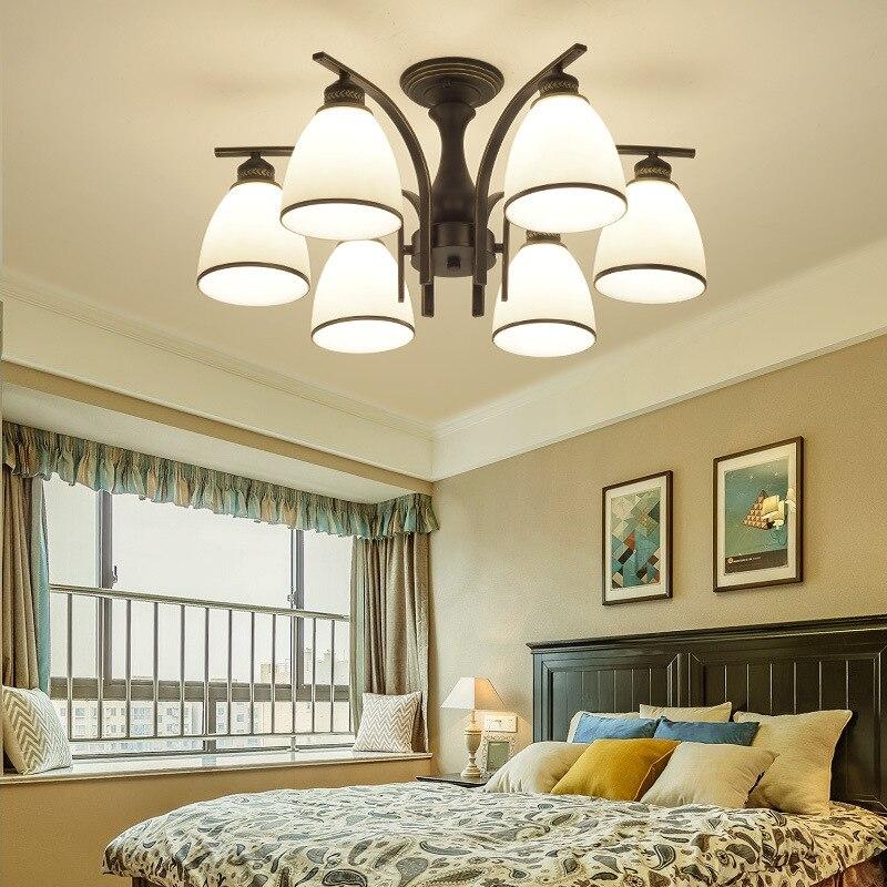 LED Lihgt Ceiling lamp living room lamp American country iron lamps modern minimalist restaurant E27 110V-240V