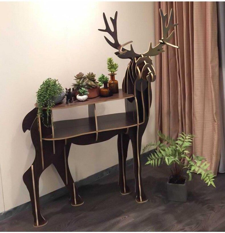 Bois artisanat cerf Table basse livre étagères cerf bureau cerf Table bois meubles - 5