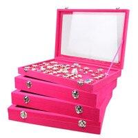 Fushia Velvet Earrings Ring Bracelets Organizer Ear Studs Jewelry Glass Display Showcase Plate 35*24*4.5cm(L*W*H)