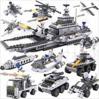 732 Pcs Legoings 8 In 1 Aircraft Carrier Bricks 25 Models Military Ship DIY Model Building