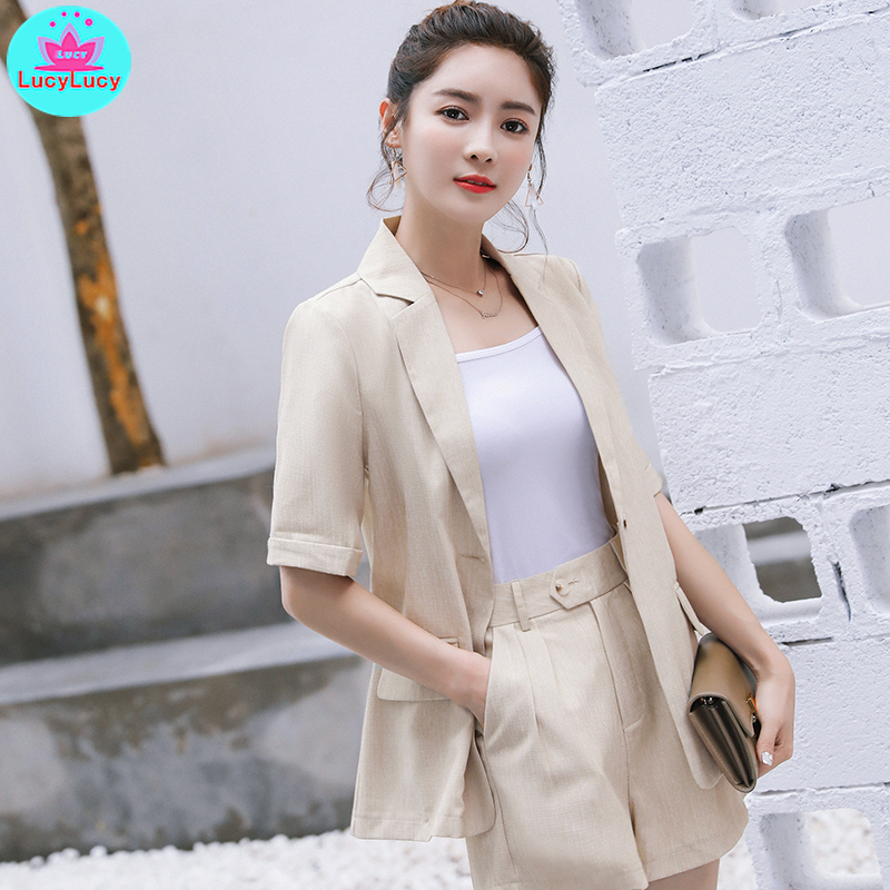 2109 Summer Korean Women's Wear 2 Piece Set Playful Small Suit Shorts Set Notched  Single Breasted  Zipper Fly  Short