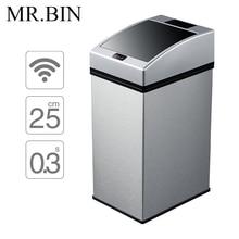 Mr. bin Smart Сенсор мусорный бак площади Автоматическая мусора Нержавеющая сталь индукции свалку экологически Пластик WB-SS003 7L