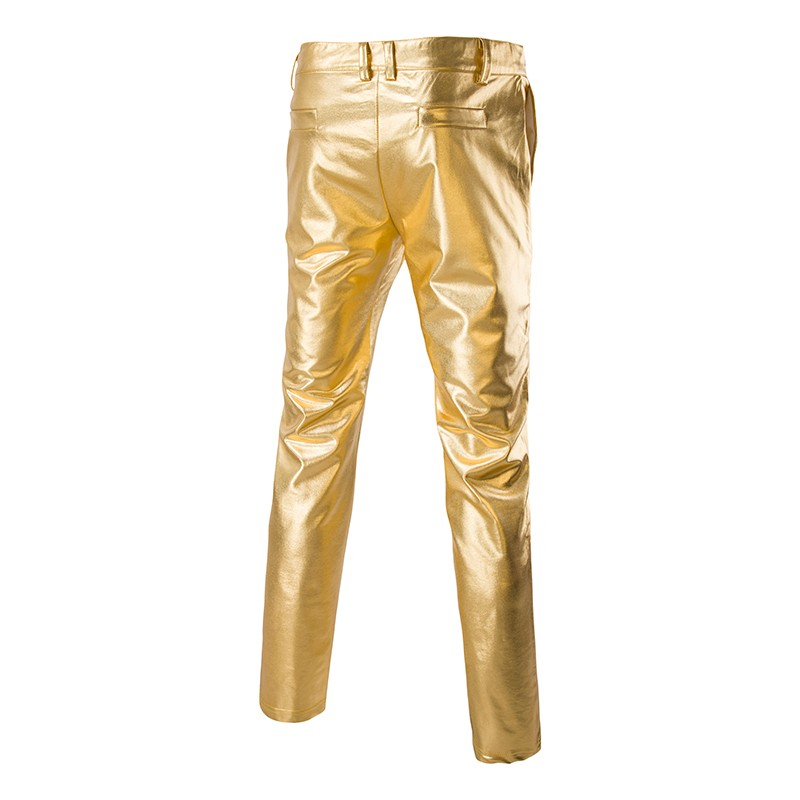 Mens Shiny Pants Silver Black Gold Trousers Nightclub Stage Costumes Male Fashion Pantalon Homme Performances Wedding Clothes