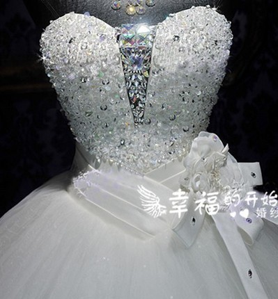 2017 Y Bride Wedding Dress Full Of Stones On The Chest Royal Style Bandage Deep V Neck Princess Dresses In From Weddings Events