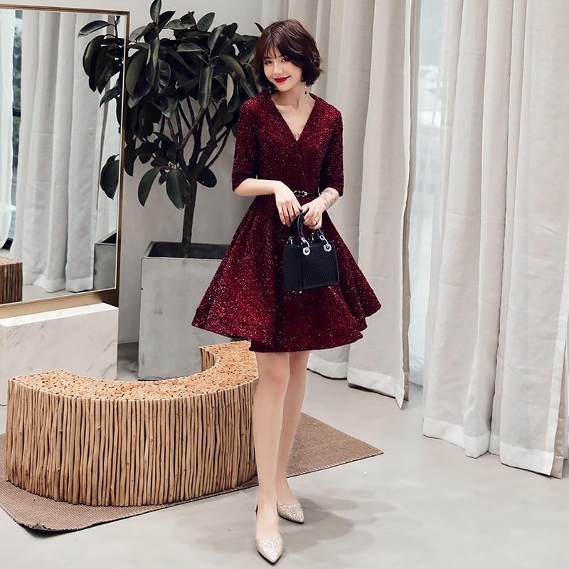 2019   Cocktail     Dresses   Elegant formal Party   Dress   A-Line V-Neckline Women Short Sexy Women Homecoming   Dresses   LF229